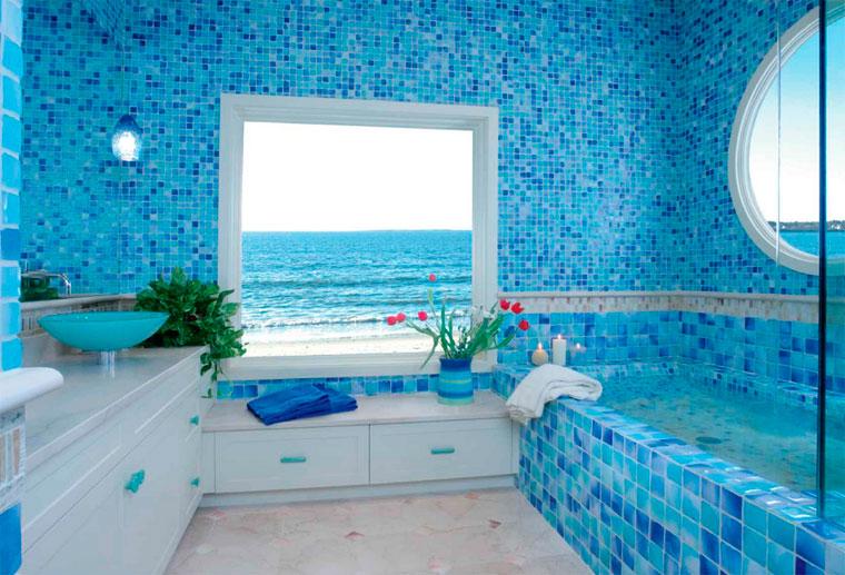 декор ванной комнаты в морском стиле