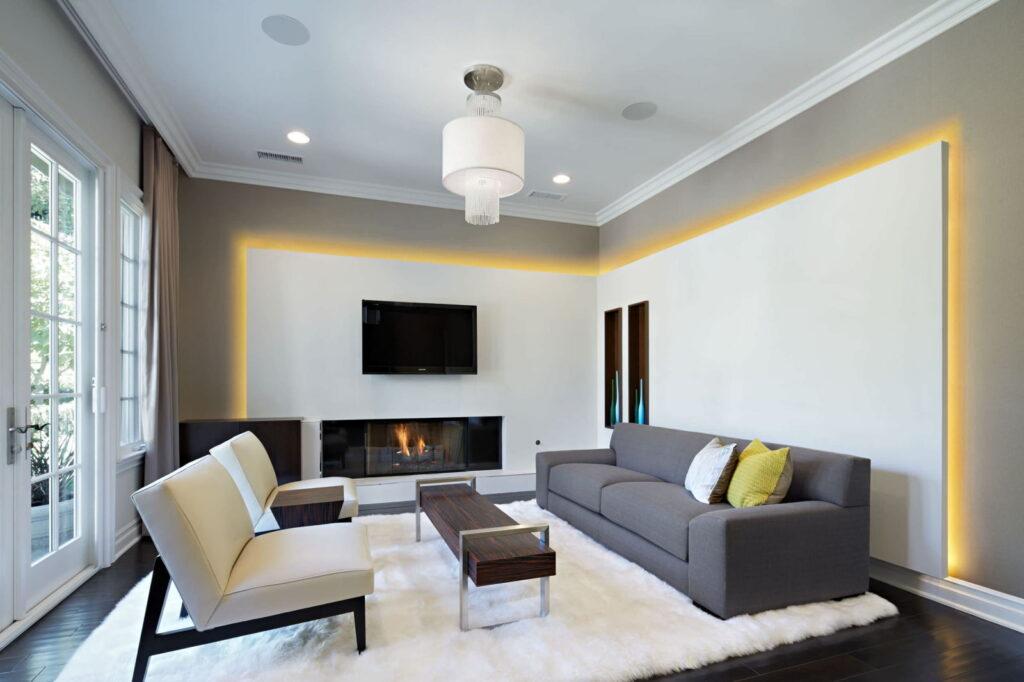 разновидности освещения в гостиной