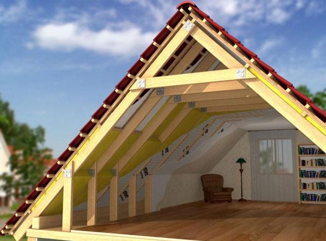 Монтаж двухскатной мансардной крыши